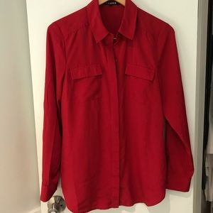 Chaus red double breast pocket blouse 8